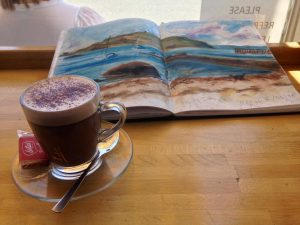 Artist date on Millport island, May 2018: A delicious hot chocolate at the Dancing Midge cafe.