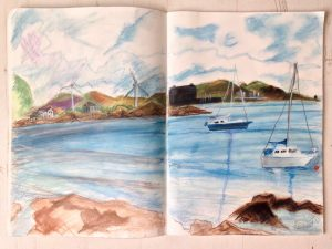 Artist date, Millport island, May 2018: Plein Air Weekend organised by Studio Gallery. My pastel sketch of bay with power stations, wind turbines and boats - Emerald Dunne Art.