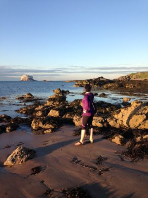 Midsummer evening on North Berwick beach. Looking towards the Bass Rock.