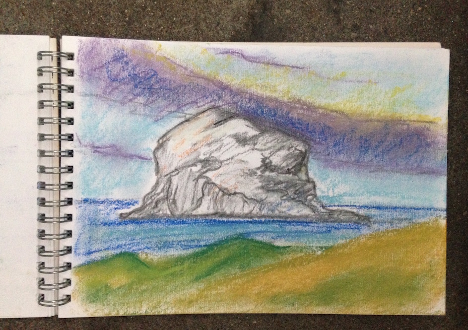 Midsummer on North Berwick beach: Pastel sketch of the Bass Rock by Glasgow artist Emerald Dunne.