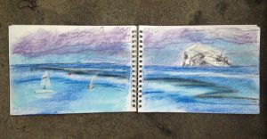 Midsummer on North Berwick beach, sketch of the Bass Rock by Glasgow artist Emerald Dunne.