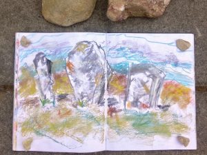 Inspired: Finding creative inspiration at Callanish standing stones, Lewis, Outer Hebrides. Pastel sketch by Glasgow artist Emerald Dunne.