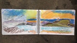 Pastel sketch of Fidra island by Glasgow artist Emerald Dunne, midsummer evening in North Berwick.