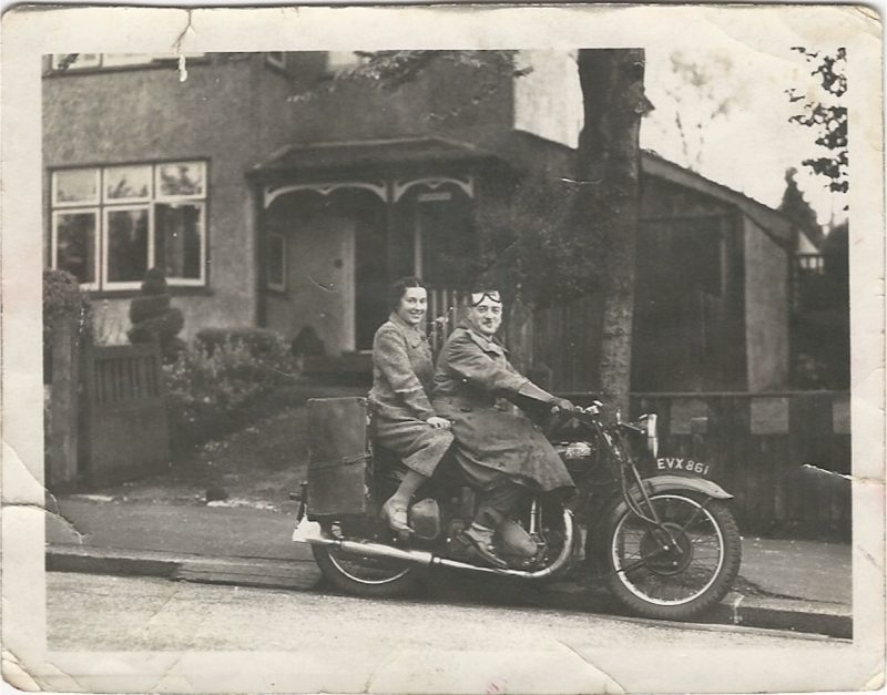 Old family photos; Granny Pip on a motorbike.
