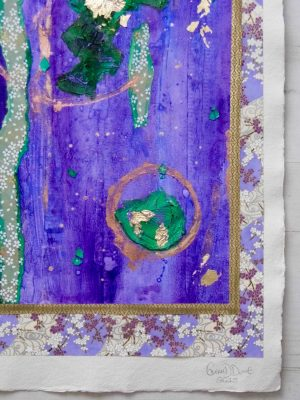 Purple abstract painting with green detail and Japanese paper by Glasgow artist Emerald Dunne.