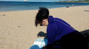 Sketching at midsummer on North Berwick beach.