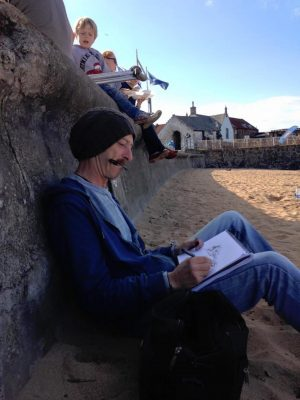 Stephen Scott, Glasgow artist, sketching on North Berwick beach at midsummer.