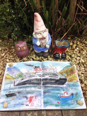 Loch Seaforth ferry leaving Ullapool for Stornaway. Sketch by Glasgow artist Emerald Dunne.