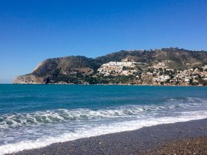 Horse shoe bay in La Herradura, Andalusia, Spain. From the beach during day time.