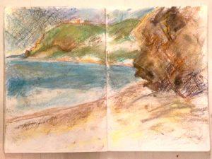 Pastel sketch on La Herradura beach in Andalusia, Spain. By Glasgow artist Emerald Dunne.