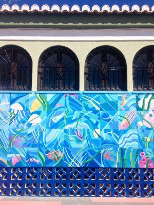 The streets of La Herradura, Spain: Colourful mural.