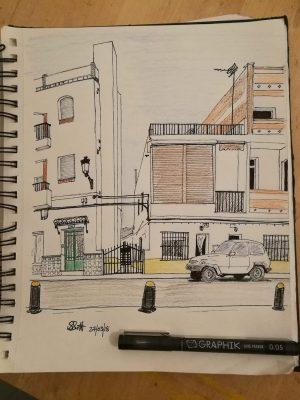 Glasgow artist Stephen Scott's sketch of a backstreet in La Herradura, Andalusia, Spain.