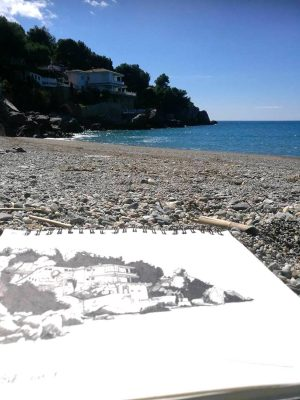 Glasgow artist Stephen Scott's sketch of a beach house La Herradura, Andalusia, Spain.