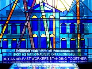 Belfast City Hall: Belfast workers, flashed glass window