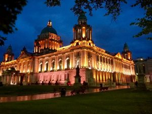 Belfast City Hall at night.