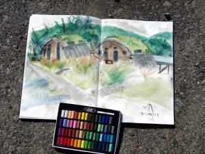Cove Park, creative centre near Helensburgh, Scotland: Pastel sketch of eco houses