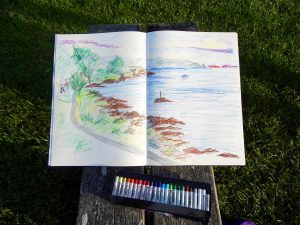 Cove Park, creative centre near Helensburgh, Scotland: Oil pastel sketch of Loch Long