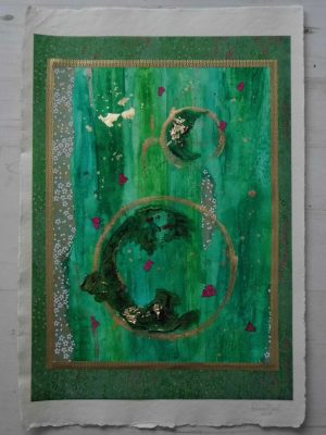 Green and pink abstract painting created with Japanese paper (chiyogami) by Emerald Dunne Glasgow artist.