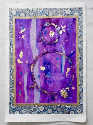 Abstract painting by Emerald Dunne created with Japanese paper - chiyogami. The purple colour represents Sahasrara, the crown chakra.