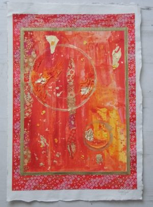 Red and orange abstract painting created with Japanese paper (chiyogami) by Emerald Dunne Glasgow artist.