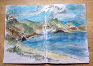 Pastel sketch created on walk from La Herradura to Almuñécar, Spain. By Emerald Dunne Glasgow artist.