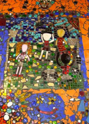 A mosaic workshop with finished piece created by KS1 and KS2 children, London primary school | Stars and Stems | Artist blog | Emerald Dunne | Glasgow artist