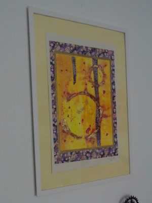 Japanese paper and abstract painting in frame by Emerald Dunne Glasgow artist.