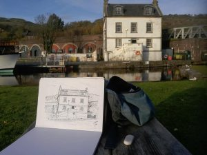 Sketch by Stephen Scott Glasgow artist. At Bowling basin, West Dunbartonshire, Scotland.